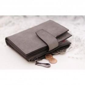 Dexbxuli Dompet Wanita Zipper Wallet Solid Vintage Matte - SX007-2 - Black - 5