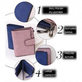 Dexbxuli Dompet Wanita Zipper Wallet Solid Vintage Matte - SX007-2 - Black - 6