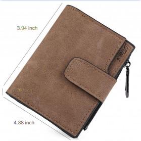 Dexbxuli Dompet Wanita Zipper Wallet Solid Vintage Matte - SX007-2 - Black - 7