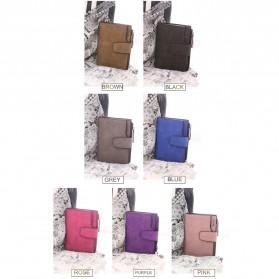 Dexbxuli Dompet Wanita Zipper Wallet Solid Vintage Matte - SX007-2 - Black - 8
