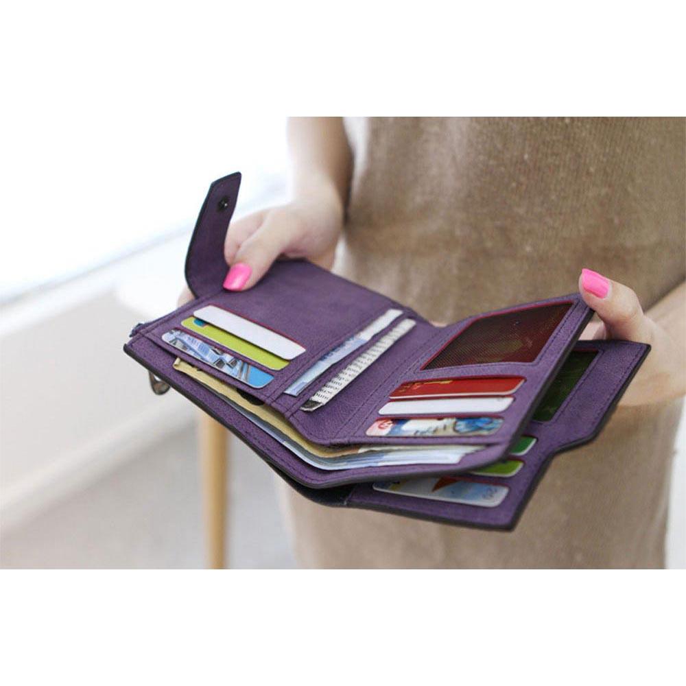 Dompet Wanita Zipper Wallet Solid Vintage Matte Black Tas Light Stand Big Muat 4