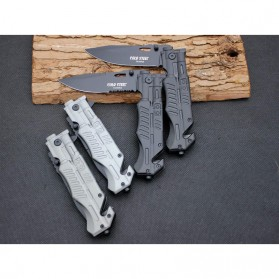 KNIFEZER Pisau Saku Lipat Portable Knife Survival Tool Cold Steel - 57HRC - Silver - 8