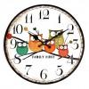 Jam Dinding Bulat Style Eropa 30cm - Owl Wooden - Multi-Color