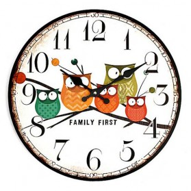 Jam Dinding Bulat Quartz Creative Design 30cm Model Eropa Owl Wooden - H6586 - Multi-Color