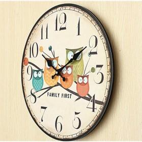Jam Dinding Bulat Quartz Creative Design 30cm Model Eropa Owl Wooden - H6586 - Multi-Color - 5