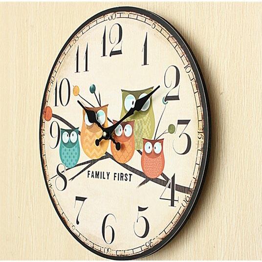 Jam Dinding Bulat Style Eropa 30cm - Owl Wooden - Multi-Color - 5 ... ed7d84a5d7