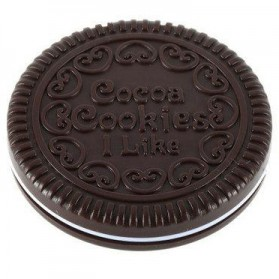 Cermin Make Up Desain Cookie - Dark Brown