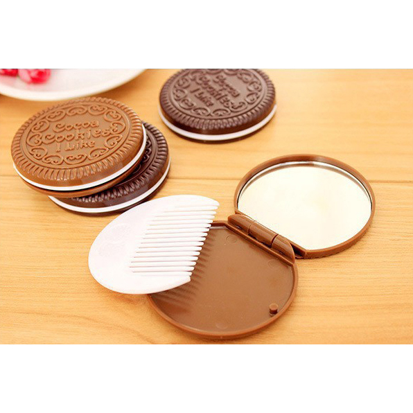 Cermin Make Up Desain Cookie - Brown - JakartaNotebook.com