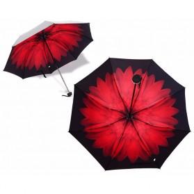 Payung Motif Bunga 3D - Red