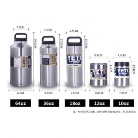 Yeti Rambler Thermos Stainless Steel 1080ml - 304 - Silver - 9