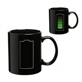 LINGXI Magic Mug Cangkir Sensitif Suhu Motif Baterai 400ml - HAPPY - Black - 3
