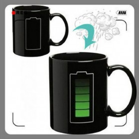 LINGXI Magic Mug Cangkir Sensitif Suhu Motif Baterai 400ml - HAPPY - Black - 4