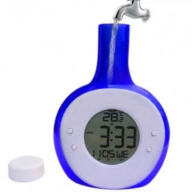 Jam Alarm Tenaga Air Model Botol - Blue