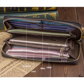 WOFU Dompet Kulit Pria Model Panjang - Black - 5