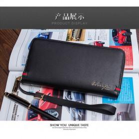 WOFU Dompet Kulit Pria Model Panjang - Black - 7