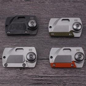 HALSTUST Pisau Lipat Mini Gantungan Kunci Knife Survival Tool EDC Key Chain - DQ-GPD - Black/Silver - 5