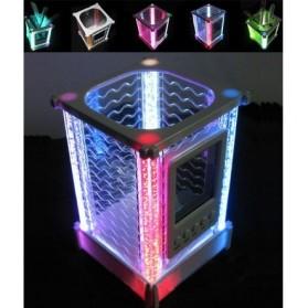 Crystal Rainbow Desk Clock Pen Holder - JK-2899 - White