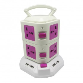 Vertical Electrical Socket 2 Layer UK Plug with USB Port - A-BS-2L - Rose