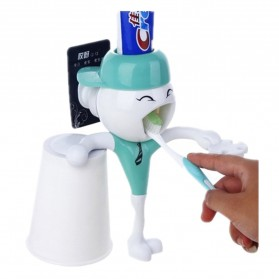 Happy Boy Automatic Squeezing Toothbrush Rack - AA-TPE001 - White/Green