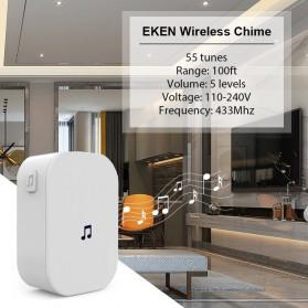 EKEN Receiver Bell Pintu Wireless Doorbell EU Plug for EKEN V5 V6 V7 433Mhz - F53 - White - 3