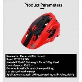 WEST BIKING Helm Sepeda Cycling Helmet Trail XC MTB - TK-YP0708078 - Black - 4