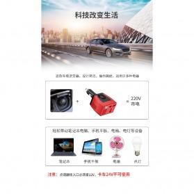 Power Car Inverter 75W 220V AC EU Plug with USB Charger 0.5A - Black/Red - 3
