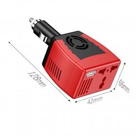 Power Car Inverter 75W 220V AC EU Plug with USB Charger 0.5A - Black/Red - 7