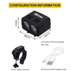 ZACRO Headlamp Lampu Sepeda USB Rechargerable CREE Dual XML-T6 - Y15 - Black - 6