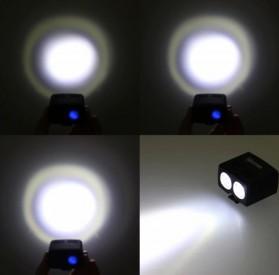 ZACRO Headlamp Lampu Sepeda USB Rechargerable CREE Dual XML-T6 - Y15 - Black - 7