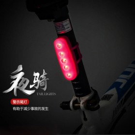 Lampu Belakang Sepeda Bicycle Taillight Safety Lamp USB Rechargeable - DC-109 - Black