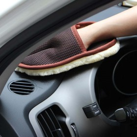 BU-Bauty Sarung Tangan Kain Lap Mobil Waxing Polish Gloves Wool - CSL2017 - Brown - 3