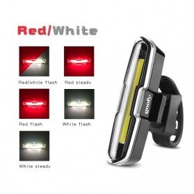 TaffLED Lampu Belakang Sepeda USB Rechargeable Front Rear Bike Taillight Helmet Light Lamp 120 Lumens - FH2881 - Red/White