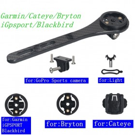 SRAM Bicycle Computer Mount Holder Sepeda Carbon Fiber 3K for Garmin Cateye Bryton - BM04 - Black