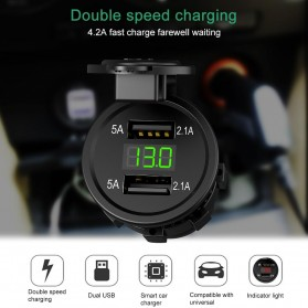 Baterai & Charger - Accnic USB Charger Motor 2 Port 4.2A with LED Display Voltmeter - Y451 - Black