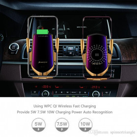 INIU Smartphone Car Holder Luxury with Qi Wireless Charger - R1 - Silver - 5