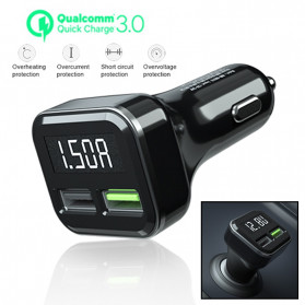 YPAY Car Charger Smartphone 2 Port 3.1A QC3.0 LCD Display - KMD-KN315 - Black