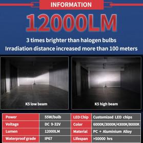 HAOSJ Lampu Mobil LED ZES Headlight 12000LM 55W 6000K H7 12V 2 PCS - K5 - Red - 5