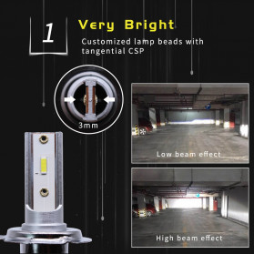 HAOSJ Lampu Mobil Headlight LED H11 CSP - K1 - Silver - 4