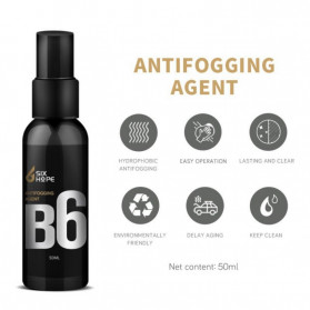 Six Hope Car Windshield Coating Hydrophobic Liquid Anti Fogging Agent Spray 50ml - B6 - Black