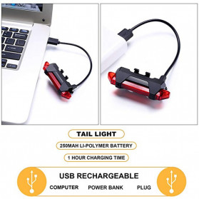 ROBESBON Lampu Belakang Sepeda USB Rechargeable Rear Tail Bike Portable Light Lamp - DC-918 - Mix Color - 5
