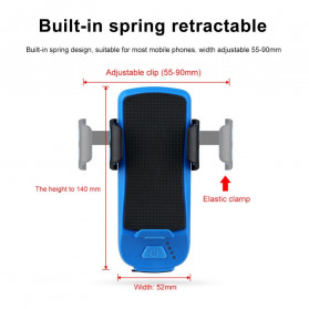 Wubasong Lampu Sepeda Rechargeable 4 in 1 Smartphone Holder + Power Bank 2400mAh + Klakson - CK2020 - Black - 11