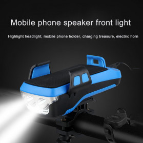 Wubasong Lampu Sepeda Rechargeable 4 in 1 Smartphone Holder + Power Bank 2400mAh + Klakson - CK2020 - Black - 3