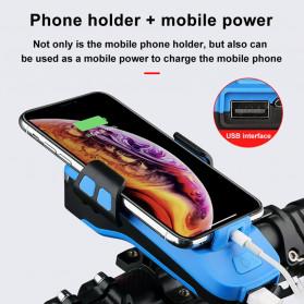 Wubasong Lampu Sepeda Rechargeable 4 in 1 Smartphone Holder + Power Bank 2400mAh + Klakson - CK2020 - Black - 6