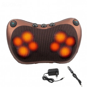 Almohada Bantal Pijat Shiatsu Heat Neck Massage Pillow 8 Head 2 Button + 3 Magnet - CHM-8028 - Brown