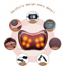 Almohada Bantal Pijat Shiatsu Heat Neck Massage Pillow 8 Head 2 Button + 3 Magnet - CHM-8028 - Brown - 3