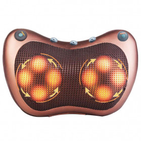 Almohada Bantal Pijat Shiatsu Heat Neck Massage Pillow 8 Head 2 Button + 3 Magnet - CHM-8028 - Brown - 4
