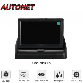 AUTONET Monitor Parkir Mobil Foldable Rear View TFT LCD 4.3 Inch - AU43 - Black