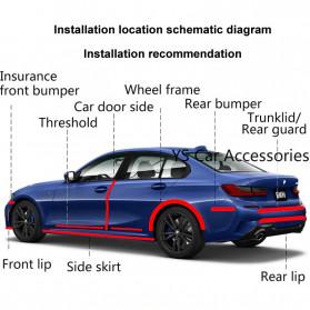 Karlor Stiker Vinyl Mobil Rubber Strip Car Bumper Edge Guard 5 x 100 CM - YSB190 - Red/Black - 6