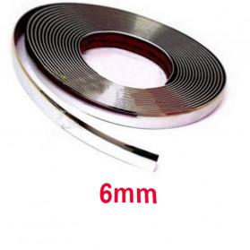 QEEPY Lis Dekorasi Interior Eksterior Mobil Moulding Chrome Trim Strip 6mmx15M - C3578 - Silver - 1