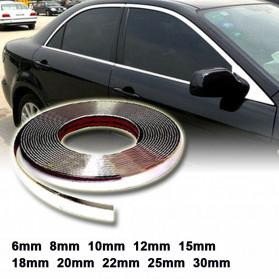 QEEPY Lis Dekorasi Interior Eksterior Mobil Moulding Chrome Trim Strip 6mmx15M - C3578 - Silver - 2